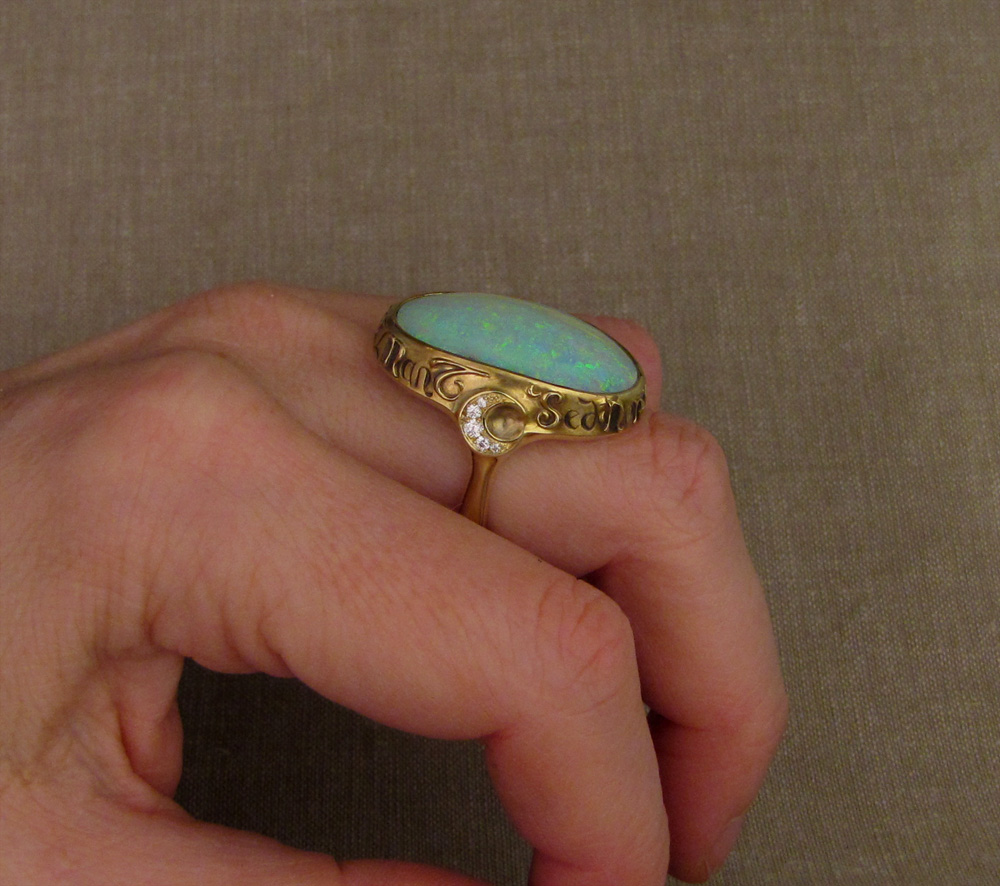 Custom designed & hand-carved Boulder Opal Ring, Latin inscription, 18K, opal, diamonds