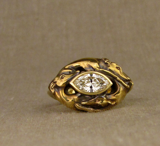 Hand-carved Greyhound Marquise Ring, 18K and diamond