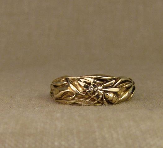 Custom designed & carved Honeybee and Rosemary wedding band, 14K gold