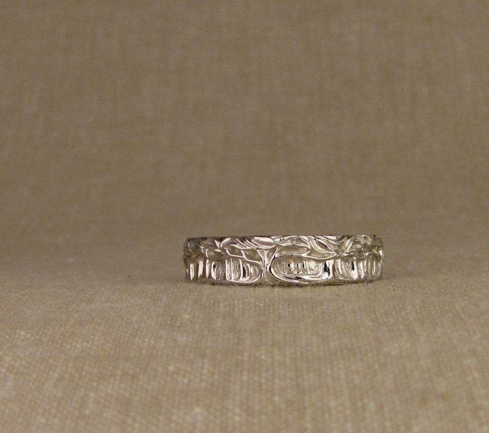 Hand-carved Forest of Trees Band, 14K white gold