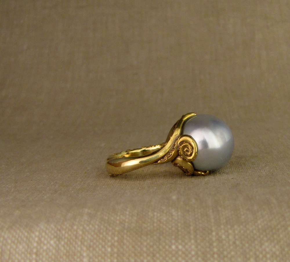 One-of-a-kind hand-carved Tentacled Baroque Pearl Solitaire, 18K