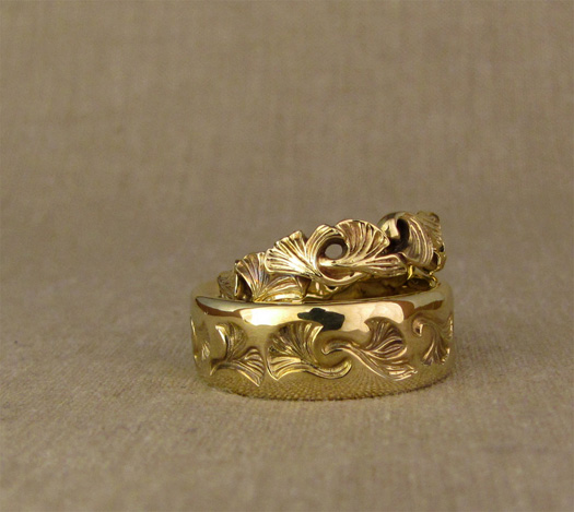 Hand-carved ginkgo wedding bands, 18K yellow gold