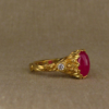 japanese peach blossoms, and vivid pink ruby solitaire in 22K