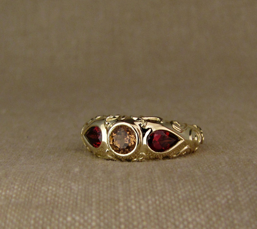 Custom designed & hand-carved arabesque motif 3-stone ring, 14K and garnets