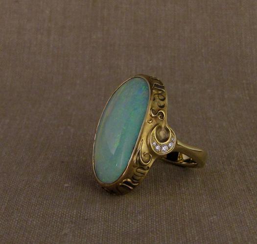 Custom designed & hand-carved Boulder Opal Ring, Latin inscription, 18K, opal, diamonds