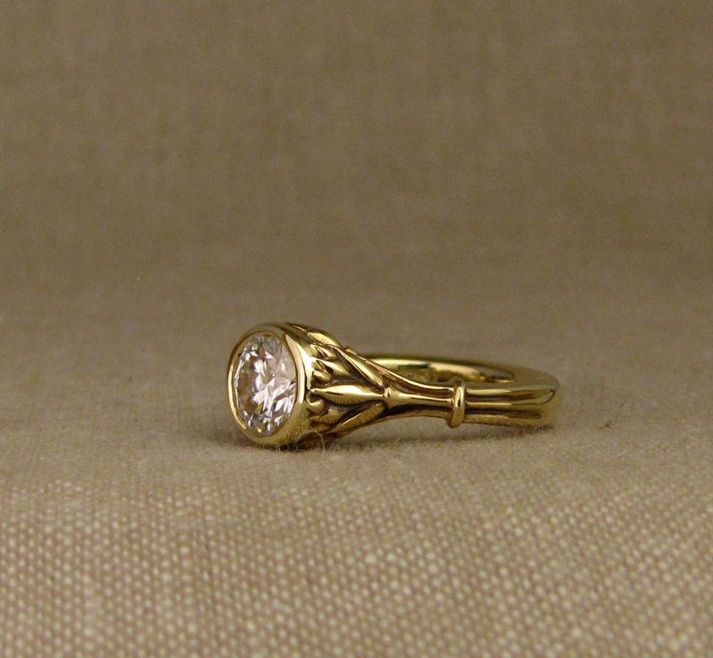 Custom designed & hand-carved Art Deco Lotus 1ct Solitaire in 18K