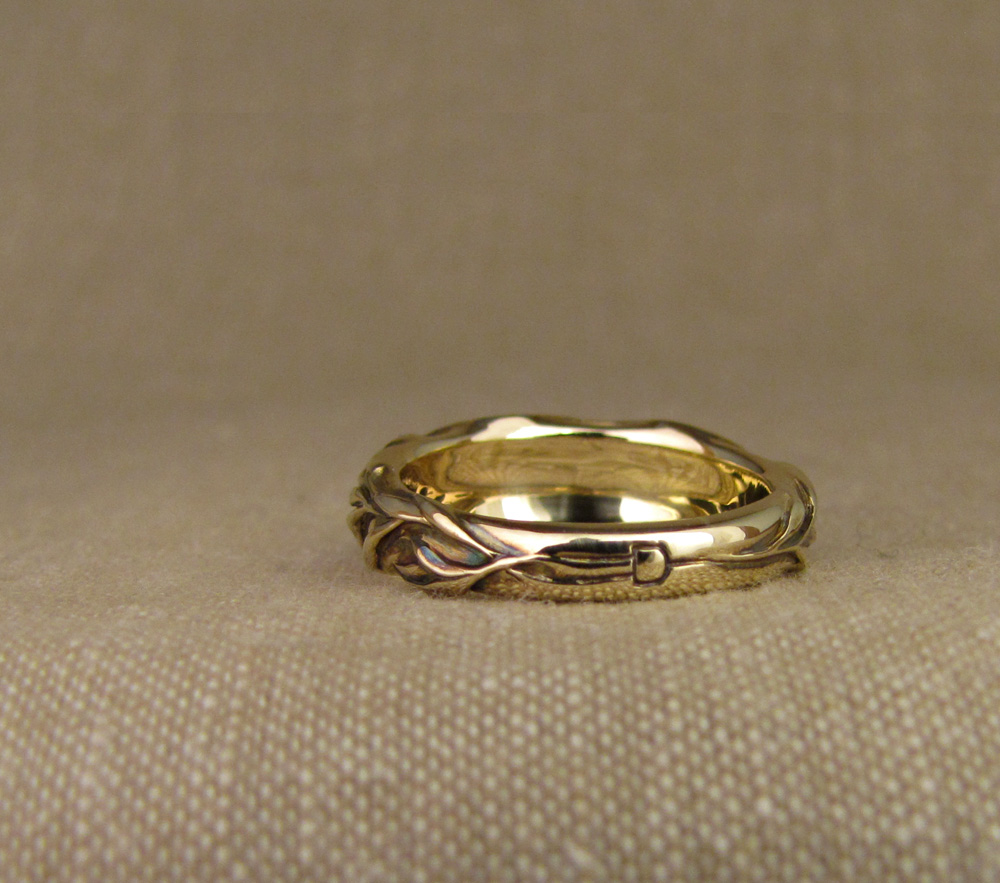 Custom designed & carved Honeybee and Rosemary wedding band, 14K gold