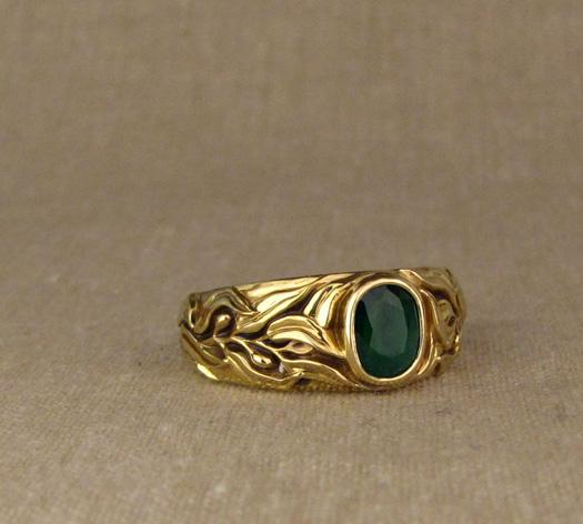 Custom designed & hand-carved Laurel motif Emerald Solitaire in 18K gold