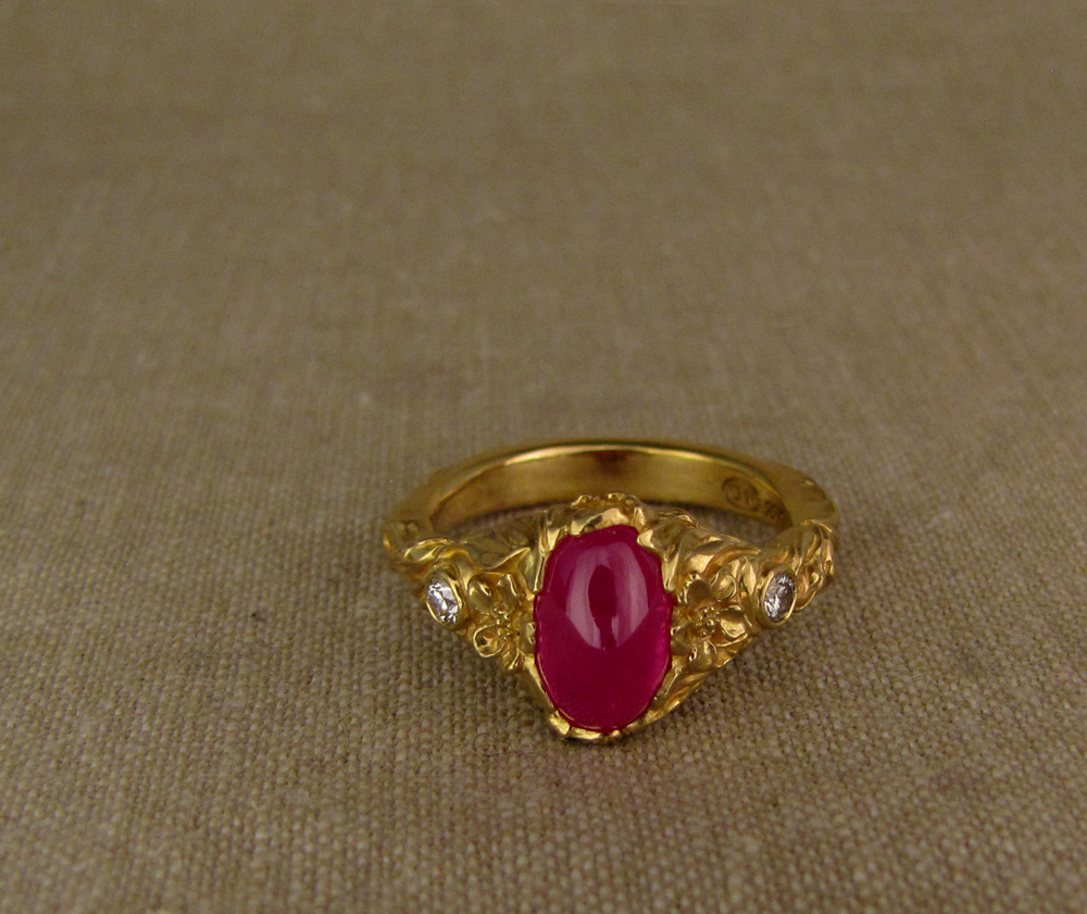 Custom designed & hand-carved Japanese Peach Blossom solitaire with cabochon ruby and diamonds, 22K gold