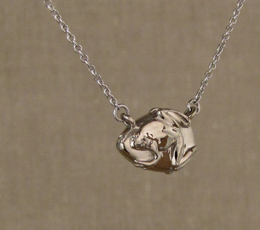 Custom designed & carved Jade Frog Pendant, 14K palladium white gold