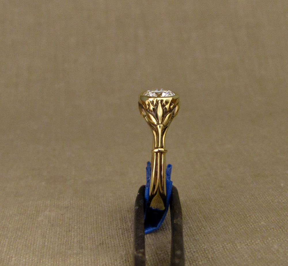 Custom designed & hand-carved Art Deco Lotus 1ct Solitaire in 18K