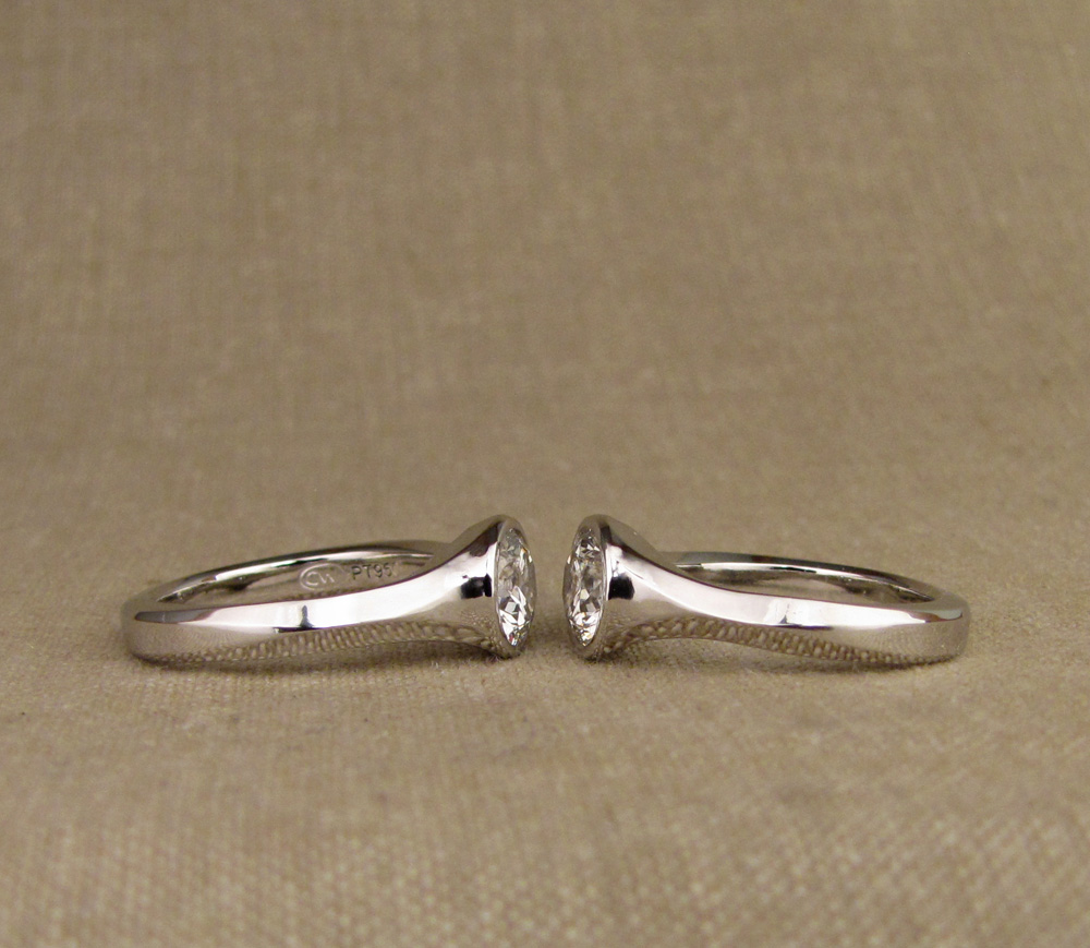 Hand-carved geometric platinum solitaires 1.25ct diamonds