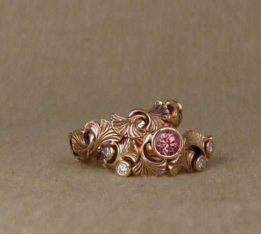 Hand-carved Ginkgo Wedding Bands, 14K rose gold set with peachy garnet & diamonds