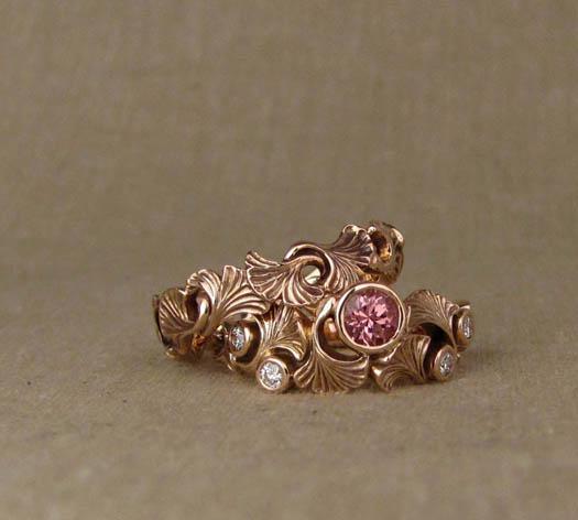 Hand-carved Ginkgo Wedding Bands, 14K rose gold set with peachy garnet & diamonds