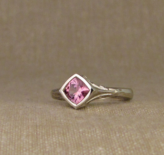 Custom designed & hand-carved Mt. Hood & Mt. St. Helens solitaire, set with pink sapphire, 14K white gold