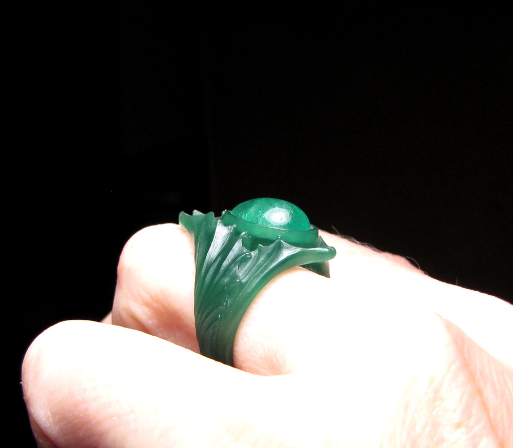 Wax carving: Emerald pear cabochon solitaire