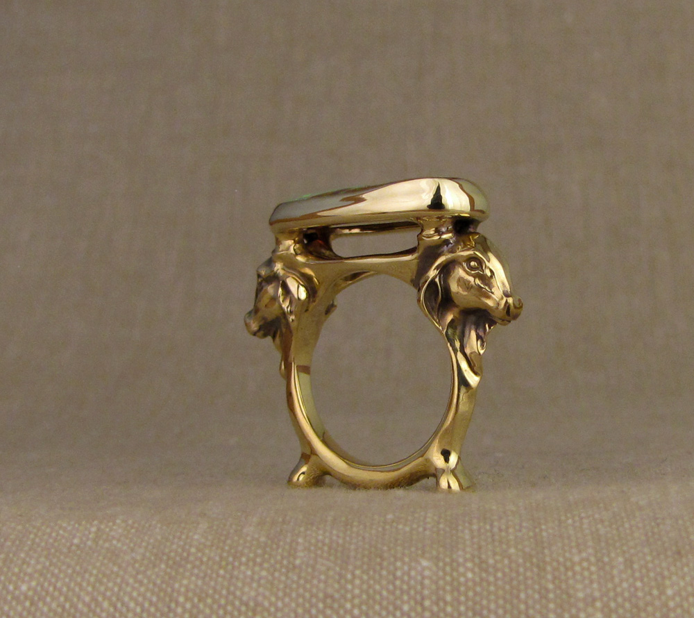 Custom hand-carved Indian Cows Ring with Australian Boulder Opal, 18K