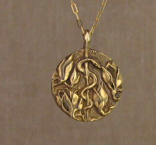 Custom hand-carved Asclepius & Magnolia blooms pendant in 18K