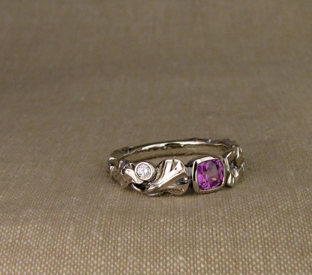 Custom hand-carved Morning Glory Solitaire with Purple Cushion Sapphire and Diamonds, 14K white gold