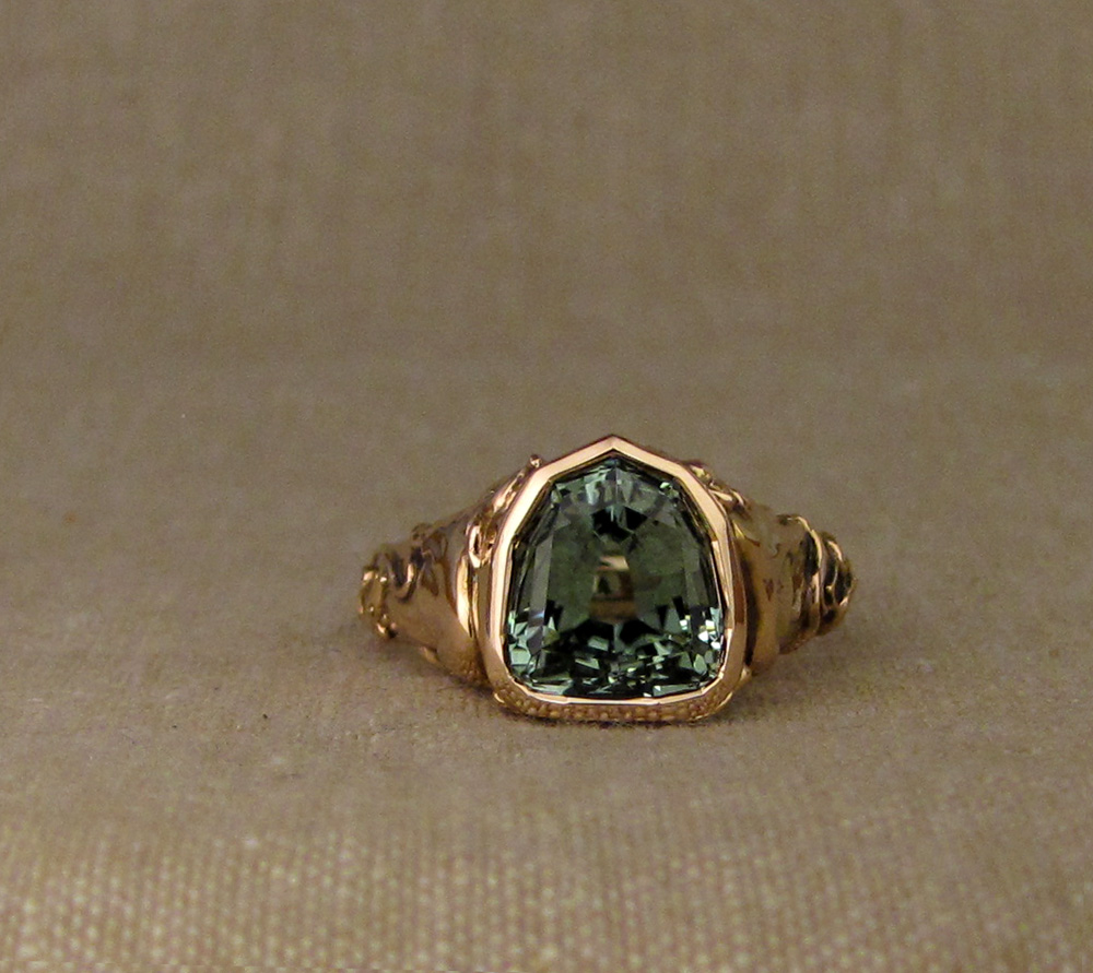 Custom-designed & hand-carved Zodiac ring, tourmaline, 19K rose gold