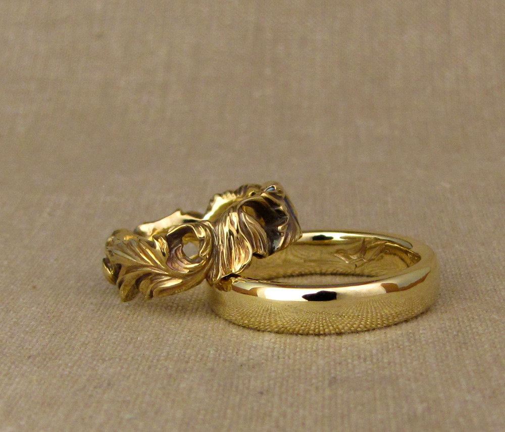 Hand-carved Poppy wedding band + Classic band with nuthatch/bird carved intaglio inside, 18K yellow gold