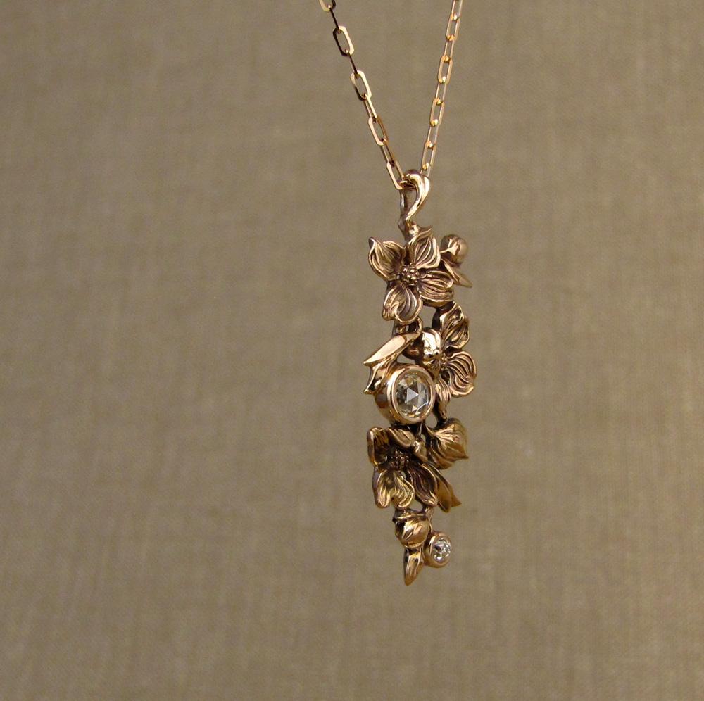 Hand-carved Dogwood Pendant, antique rose-cut diamond & OEC diamond accent, 19K rose gold