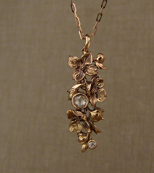 Hand-carved Dogwood Pendant, antique rose-cut diamond & OEC diamond accent, 19K rose gold