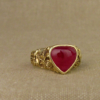 ruby honeysuckle & songbird ring