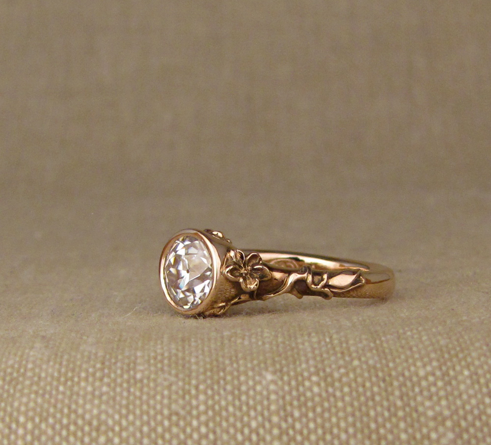 Custom hand-carved Sakura Blossom Solitaire w/1ct OEC, rose gold