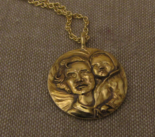 Hand carved mother & baby portrait, 14K yellow gold pendant.