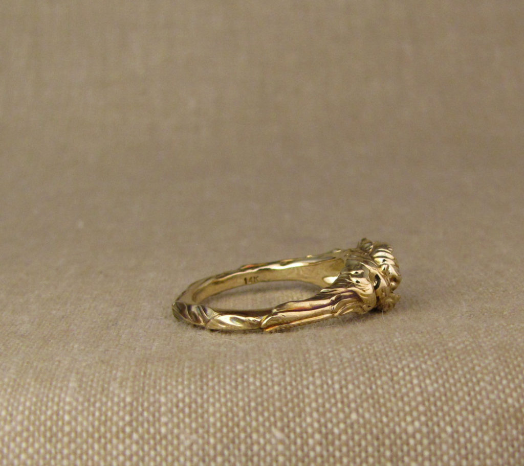 Custom designed & carved Phoenix & Peony Solitaire, 14K yellow gold
