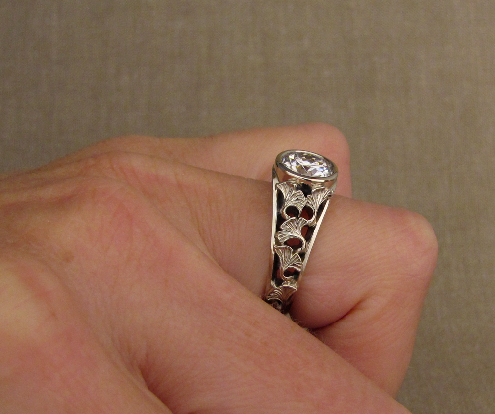 Custom designed & hand-carved Ginkgo Solitaire with 2ct stone, 18K white gold.