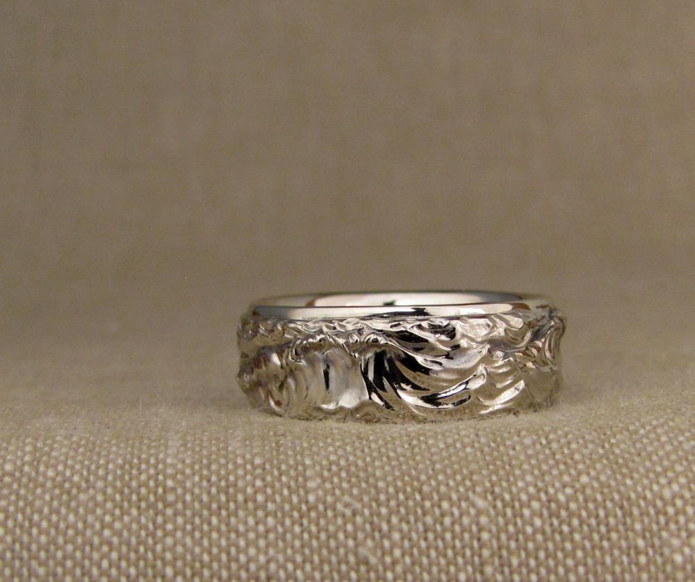 Custom-designed & hand-carved Ocean Waves wedding band. 14K white gold
