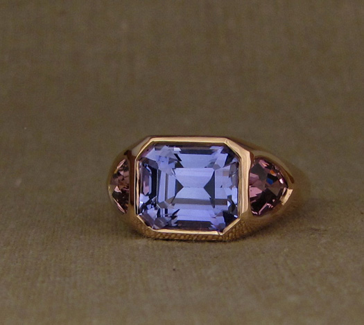 Custom designed & hand-carved Chunky 3-Stone statement ring in 19K rose gold, tanzanite, tourmaline.