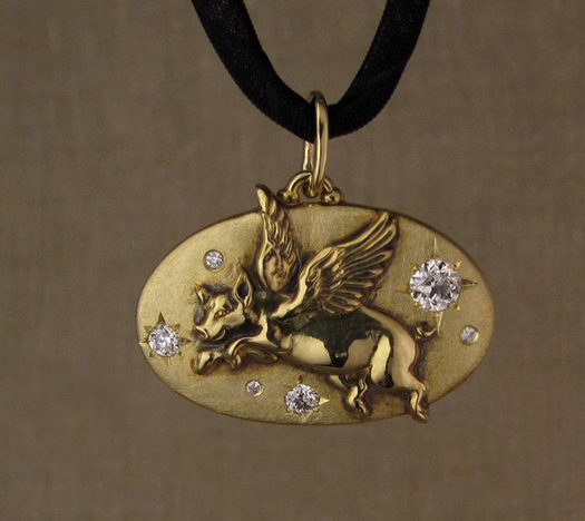 Custom-designed & hand-carved Flying Pig pendant with antique Old European cut diamonds, 18K gold.