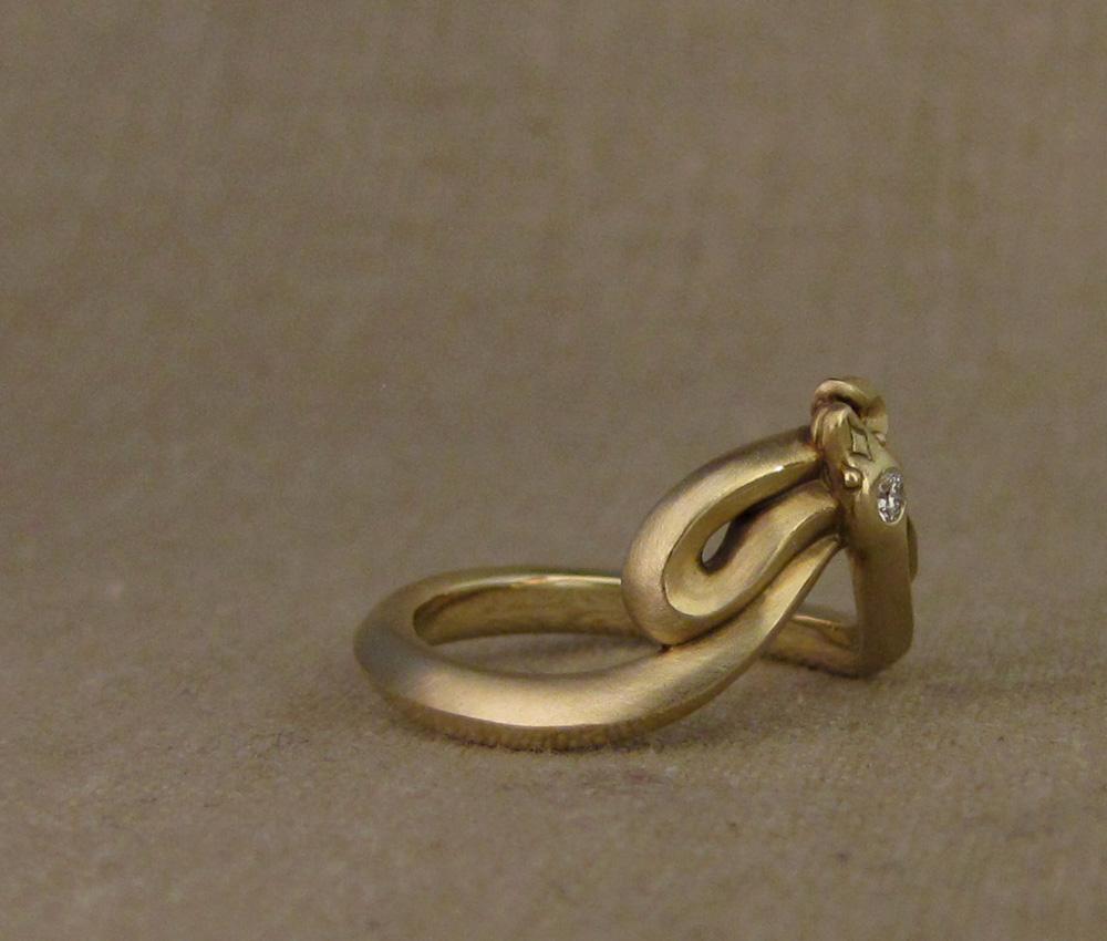 Custom-designed & hand-carved Snake Band with diamond, 14K