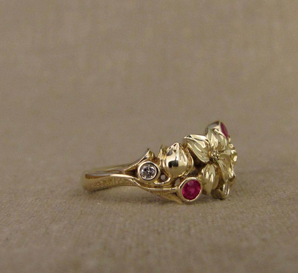 Custom designed & hand carved dogwood flower wedding band, 14K, diamonds, rubies