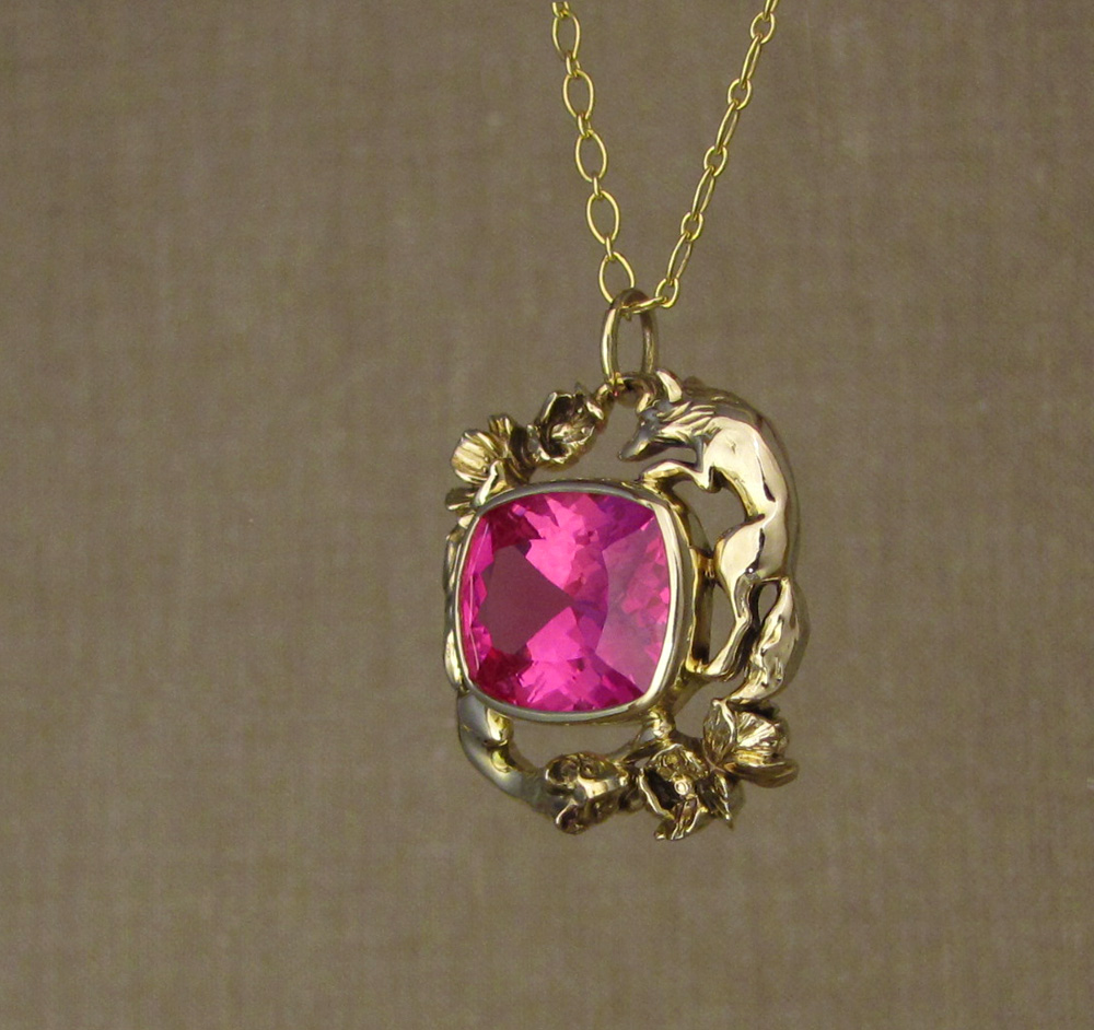 Custom designed & hand carved foxes & poppies pendant with pink sapphire, 14K gold