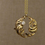 18K hand-carved Rococo Leaves Pendant with diamond, 18K