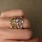 18K Carved Poppy Band + Rose Bramble Ring