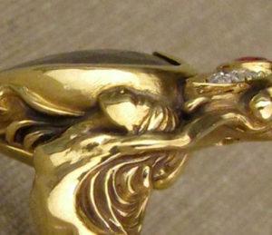 detail--Crowned heart + dancing girls custom carved ring, black diamond + rose-cut diamonds