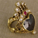Crowned heart + dancing girls custom carved ring, black diamond + rose-cut diamonds