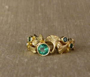 Hand-carved ginkgo & emerald ring, 18K gold