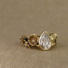 floral solitaire with a pear diamond