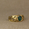 emerald + laurel motif ring