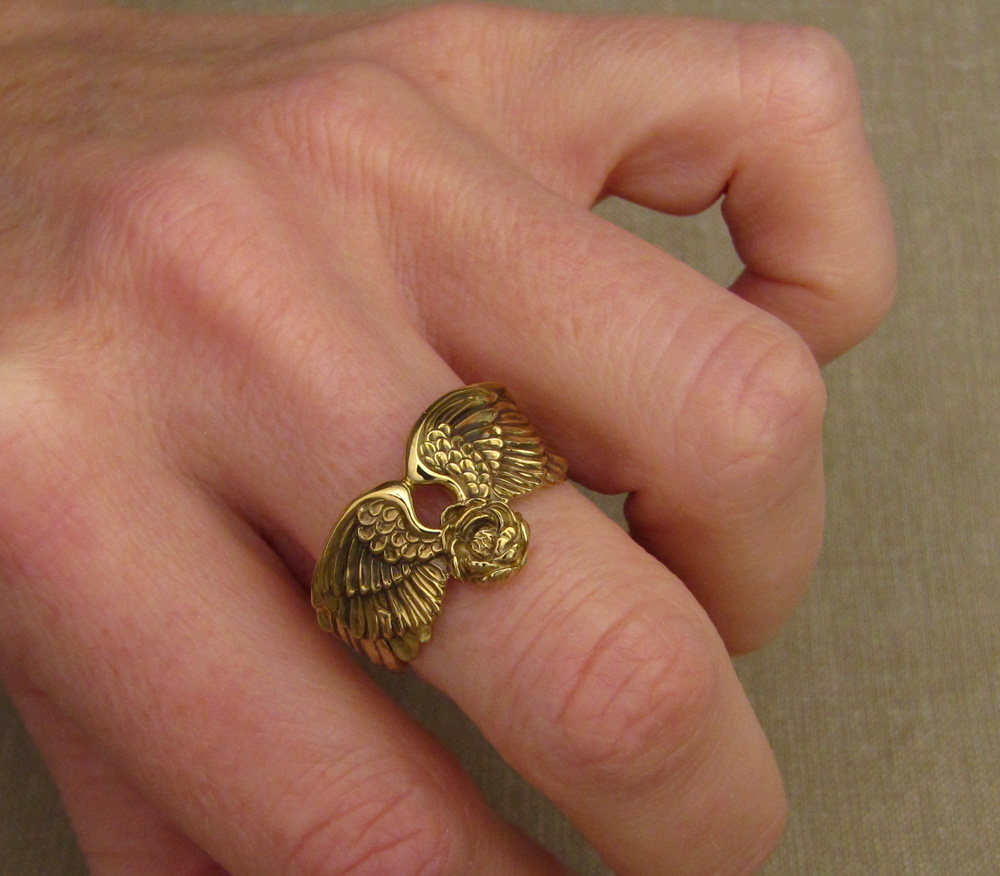 Hand-carved custom winged band with peony bloom and tiny engraved birds inside the band, 18K gold