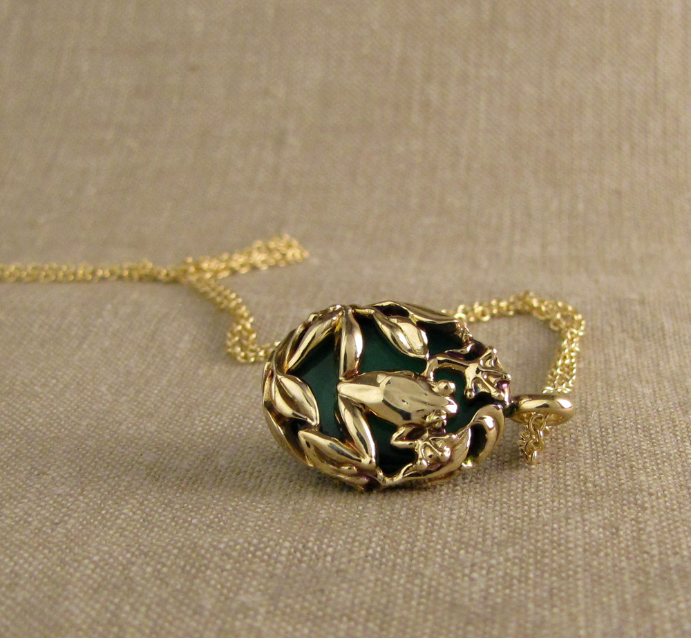 Custom hand carved Frog pendant with green chalcedony, 14K gold